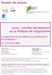 Journées de Bordeaux sur la pratique de l'ergonomie - Édition 2009