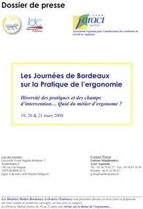 Journées de Bordeaux sur la pratique de l'ergonomie - Édition 2008