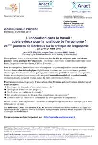 24èmes Journées de Bordeaux sur la pratique de l'ergonomie : l'innovation dans le travail, quels enjeux pour la pratique de l'ergonomie ?